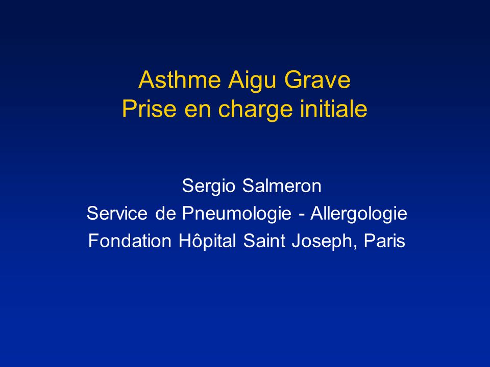 Asthme Aigu Grave Prise en charge initiale