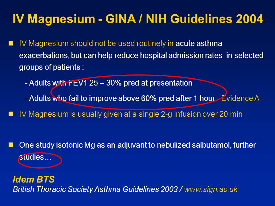 IV Magnesium - GINA / NIH Guidelines 2004