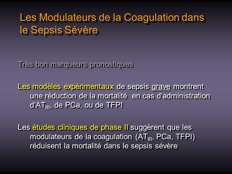 Les Modulateurs de la Coagulation dans le Sepsis Sévère
