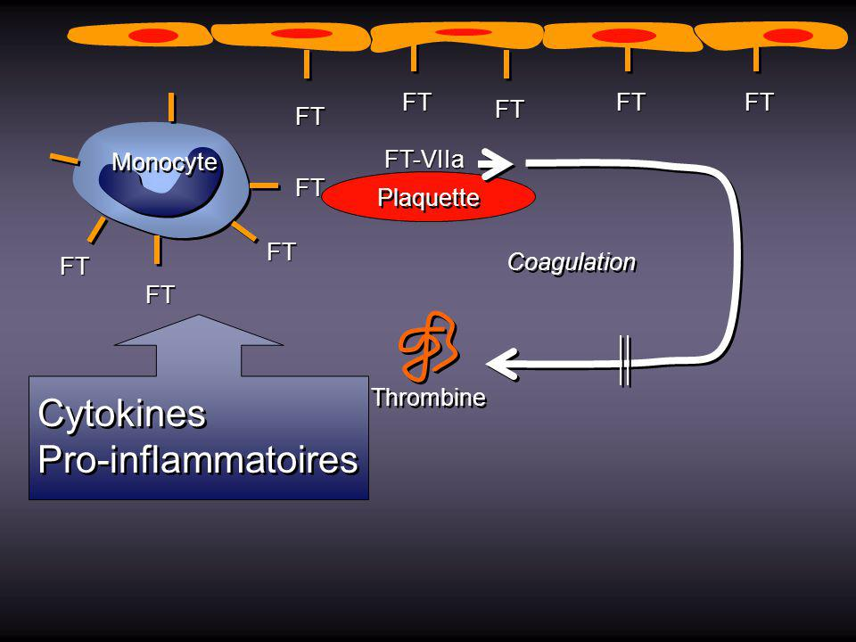 Cytokines Pro-inflammatoires FT Monocyte FT-VIIa Plaquette Coagulation