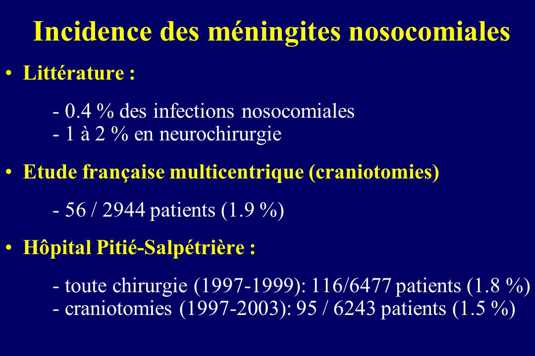 Incidence des méningites nosocomiales