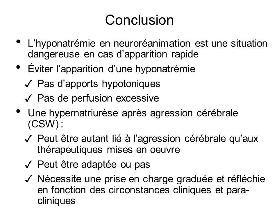 Conclusion L'hyponatrémie en neuroréanimation est une situation dangereuse en cas d'apparition rapide.