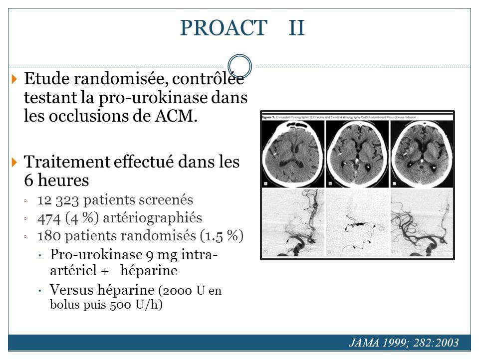 PROACT II Etude randomisée, contrôlée testant la pro-urokinase dans les occlusions de ACM. Traitement effectué dans les 6 heures.
