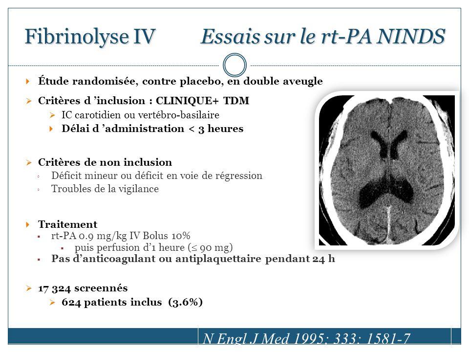 Fibrinolyse IV Essais sur le rt-PA NINDS
