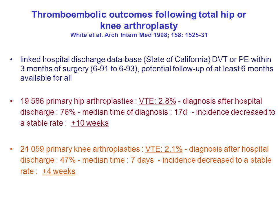 Thromboembolic outcomes following total hip or knee arthroplasty White et al. Arch Intern Med 1998; 158: 1525-31