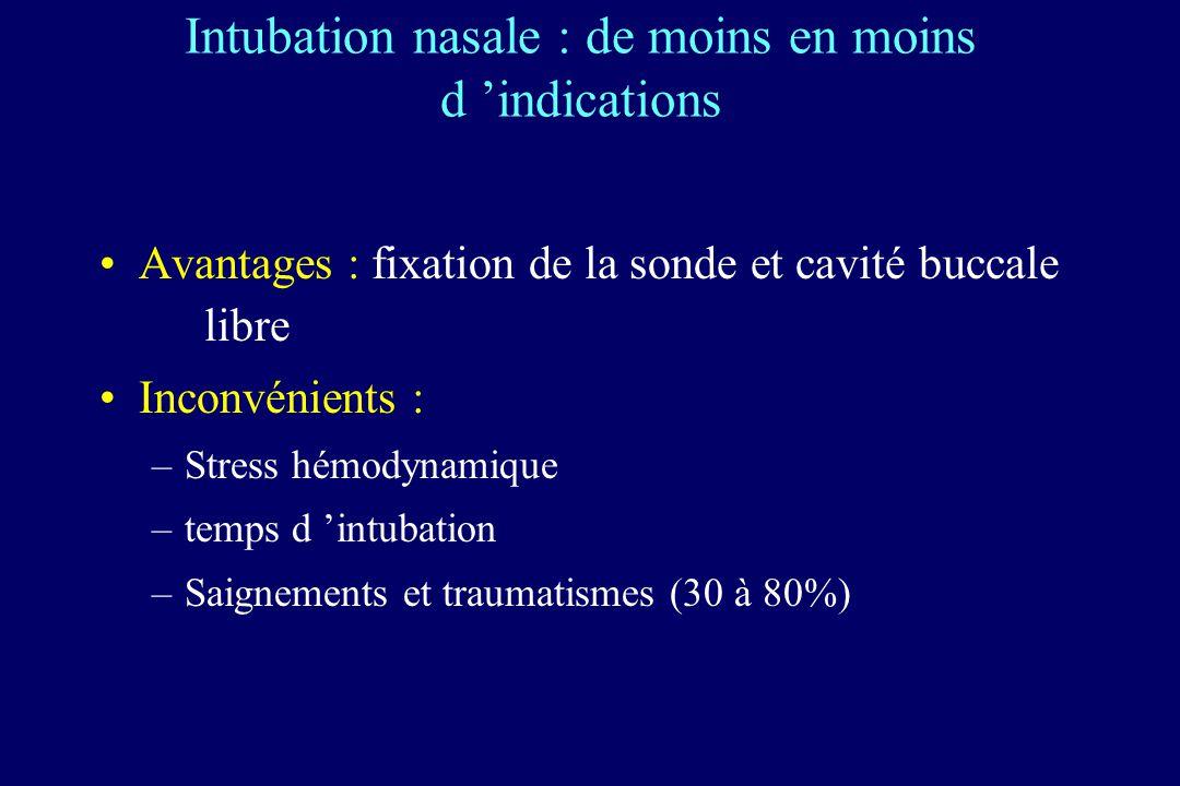 Intubation nasale : de moins en moins d 'indications