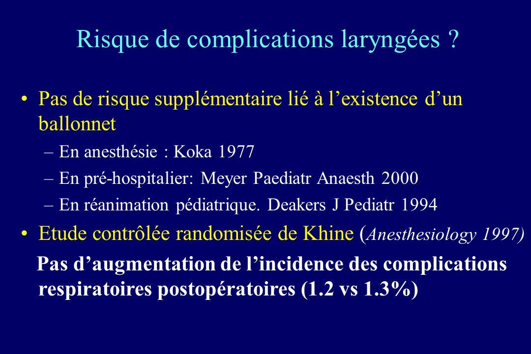 Risque de complications laryngées
