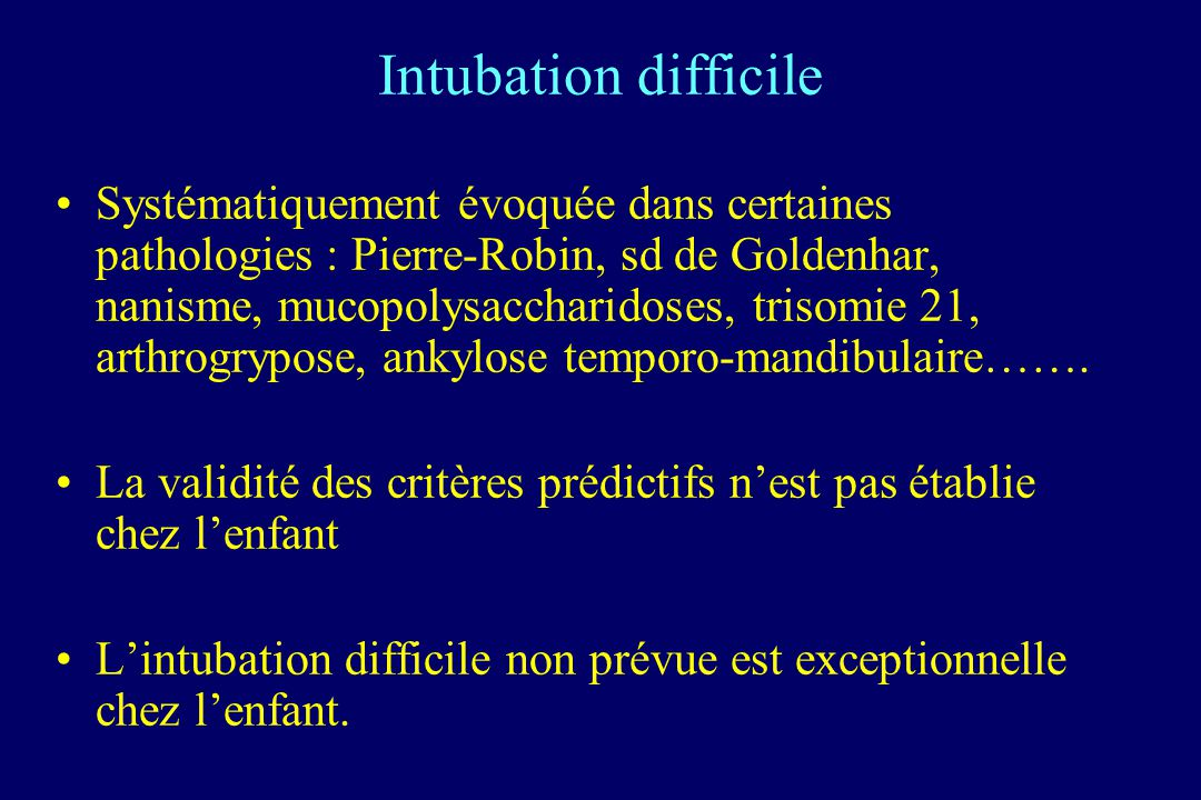 Intubation difficile