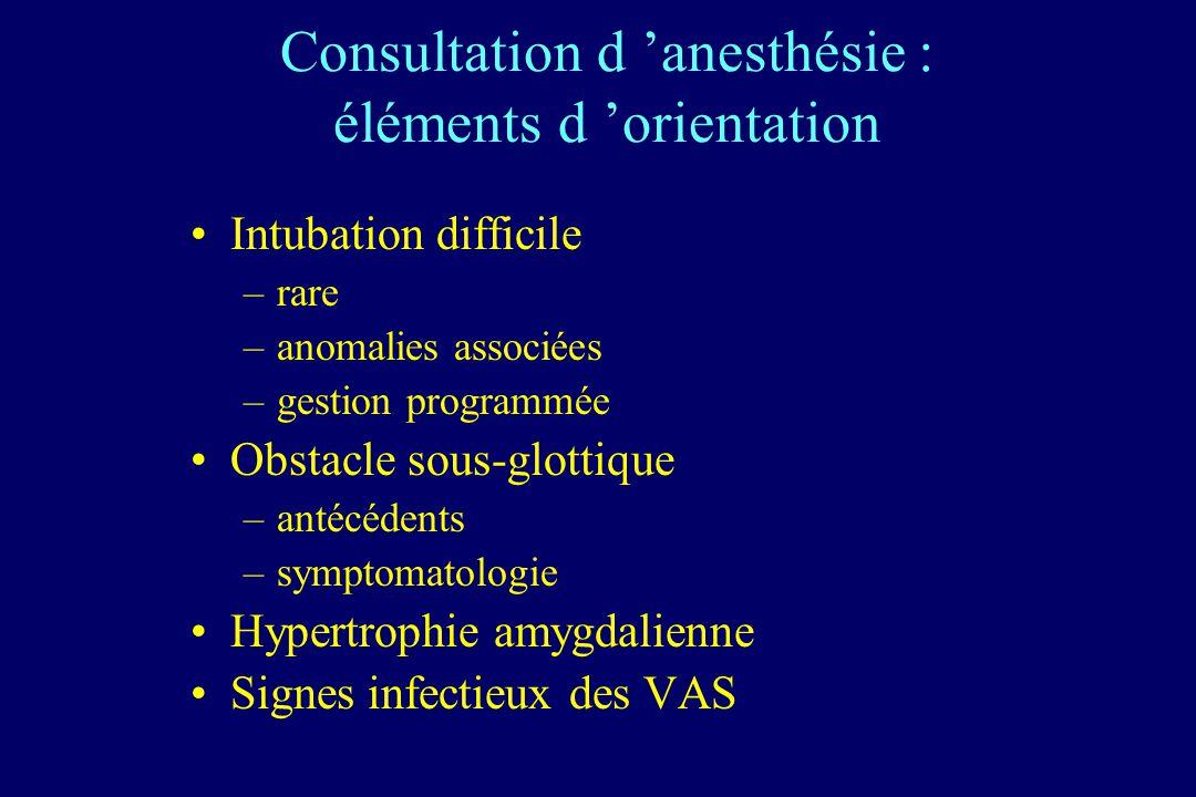 Consultation d 'anesthésie : éléments d 'orientation