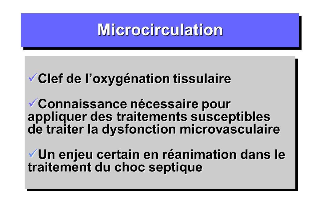Microcirculation Clef de l'oxygénation tissulaire