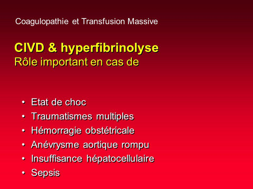 CIVD & hyperfibrinolyse Rôle important en cas de