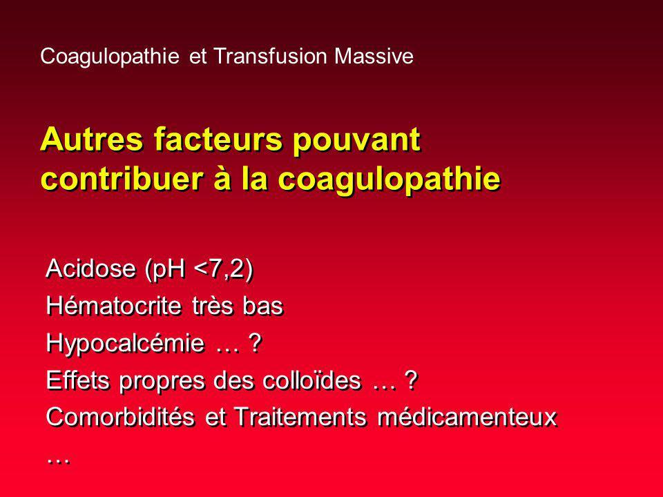 Autres facteurs pouvant contribuer à la coagulopathie