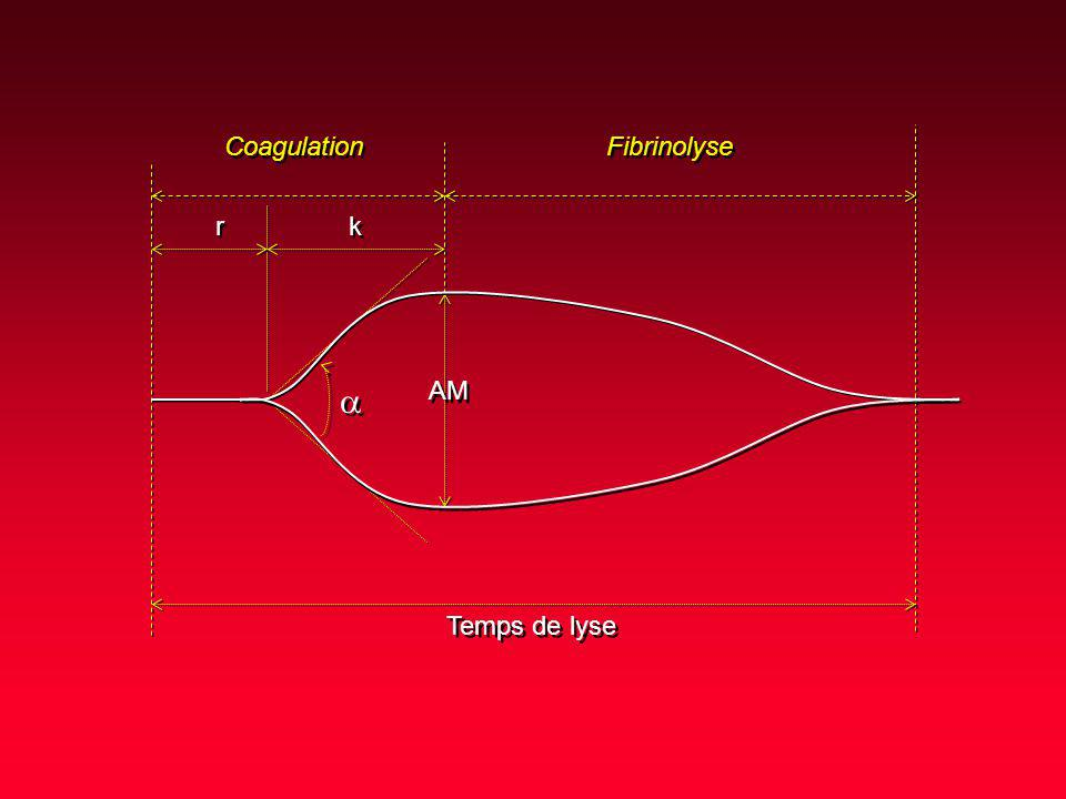 Coagulation Fibrinolyse r k a AM Temps de lyse
