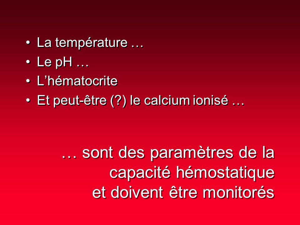 La température … Le pH … L'hématocrite. Et peut-être ( ) le calcium ionisé …