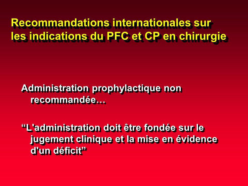 Recommandations internationales sur les indications du PFC et CP en chirurgie