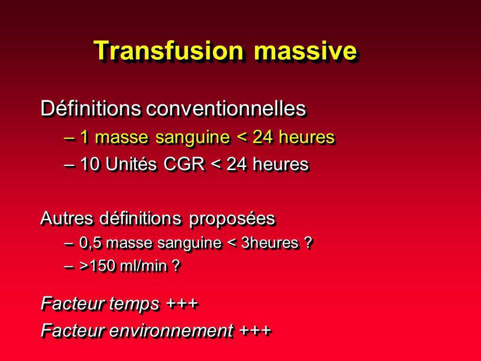 Transfusion massive Définitions conventionnelles