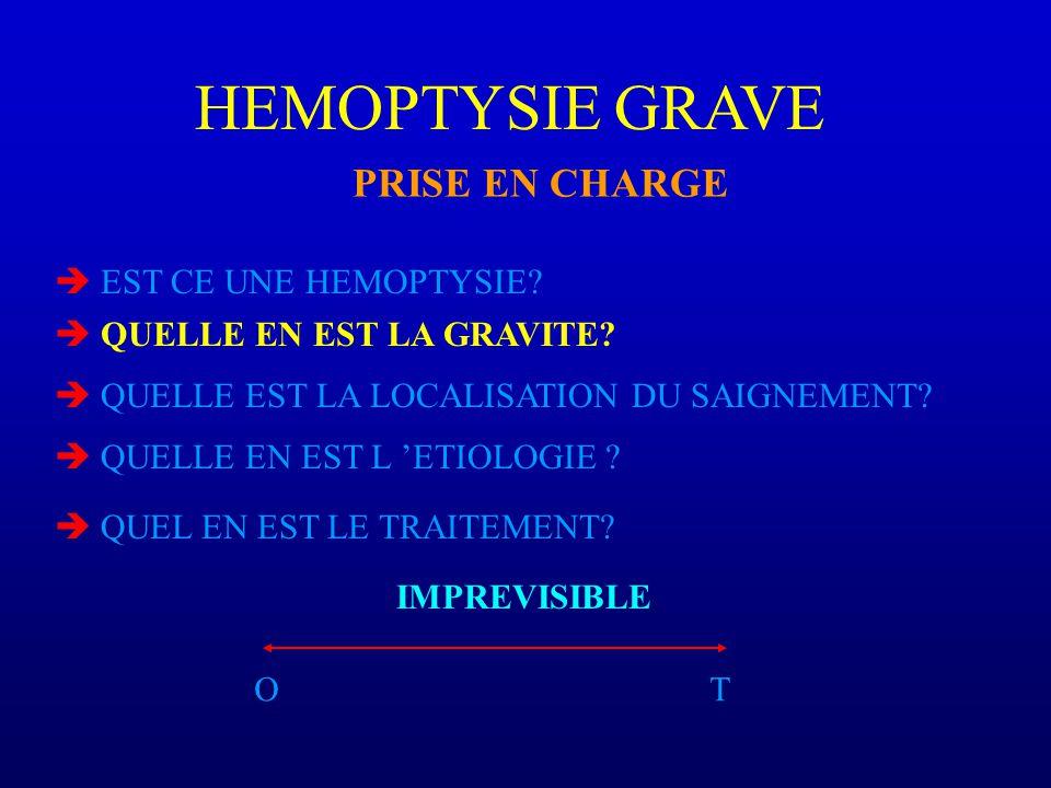 HEMOPTYSIE GRAVE PRISE EN CHARGE  EST CE UNE HEMOPTYSIE