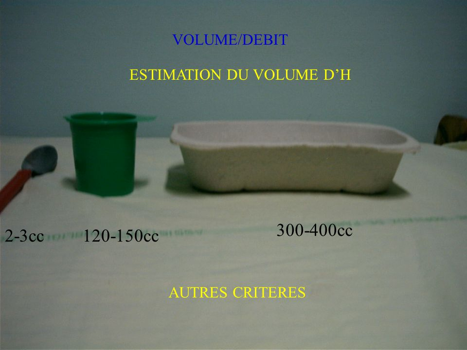 300-400cc 2-3cc 120-150cc VOLUME/DEBIT ESTIMATION DU VOLUME D'H