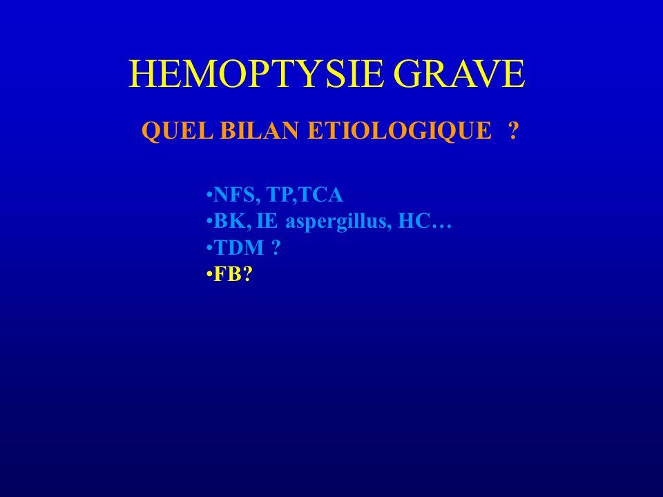 HEMOPTYSIE GRAVE QUEL BILAN ETIOLOGIQUE NFS, TP,TCA