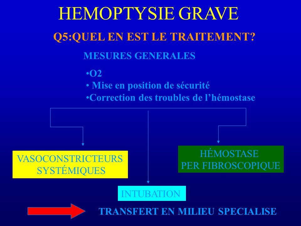 HEMOPTYSIE GRAVE Q5:QUEL EN EST LE TRAITEMENT MESURES GENERALES O2