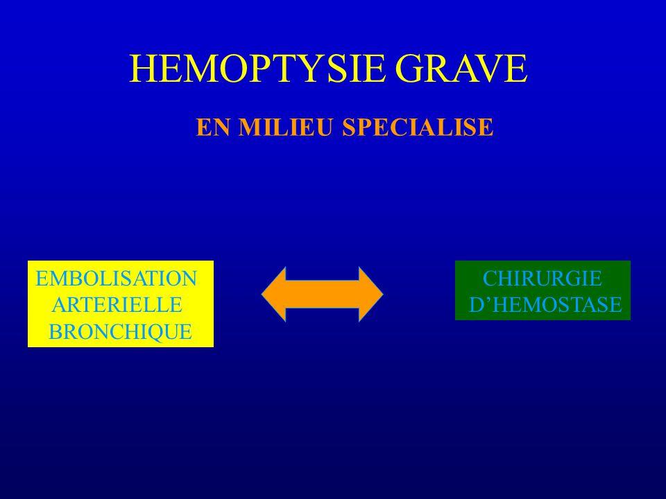 HEMOPTYSIE GRAVE EN MILIEU SPECIALISE EMBOLISATION ARTERIELLE