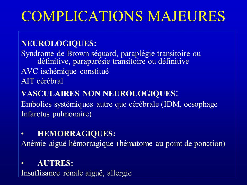 COMPLICATIONS MAJEURES