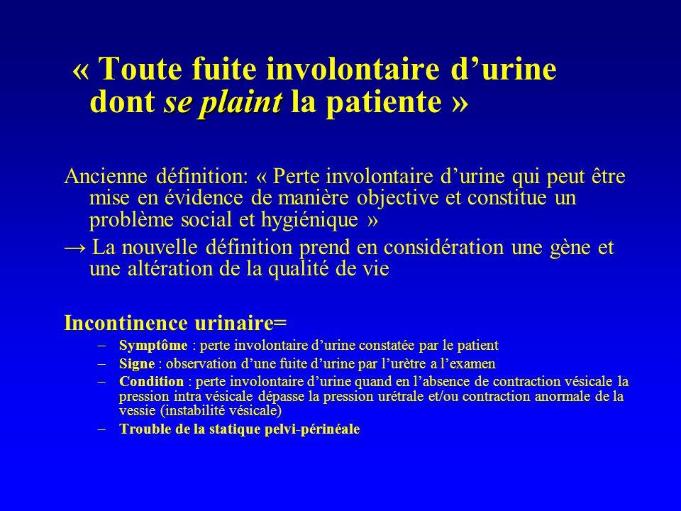 « Toute fuite involontaire d'urine dont se plaint la patiente »