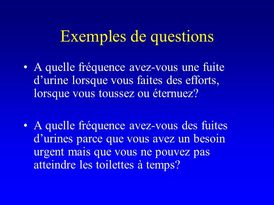 Exemples de questions A quelle fréquence avez-vous une fuite d'urine lorsque vous faites des efforts, lorsque vous toussez ou éternuez