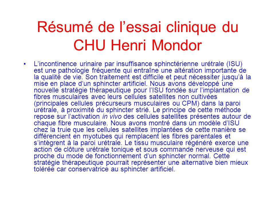 Résumé de l'essai clinique du CHU Henri Mondor