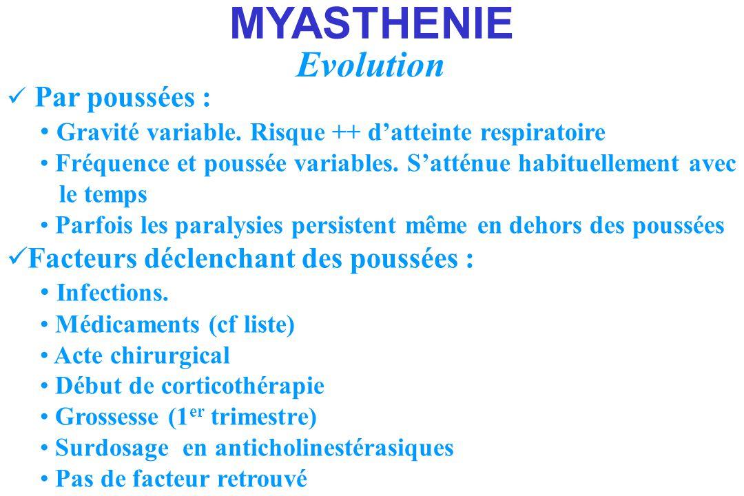 MYASTHENIE Evolution. Par poussées : Gravité variable. Risque ++ d'atteinte respiratoire.
