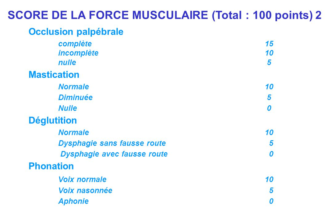 SCORE DE LA FORCE MUSCULAIRE (Total : 100 points) 2