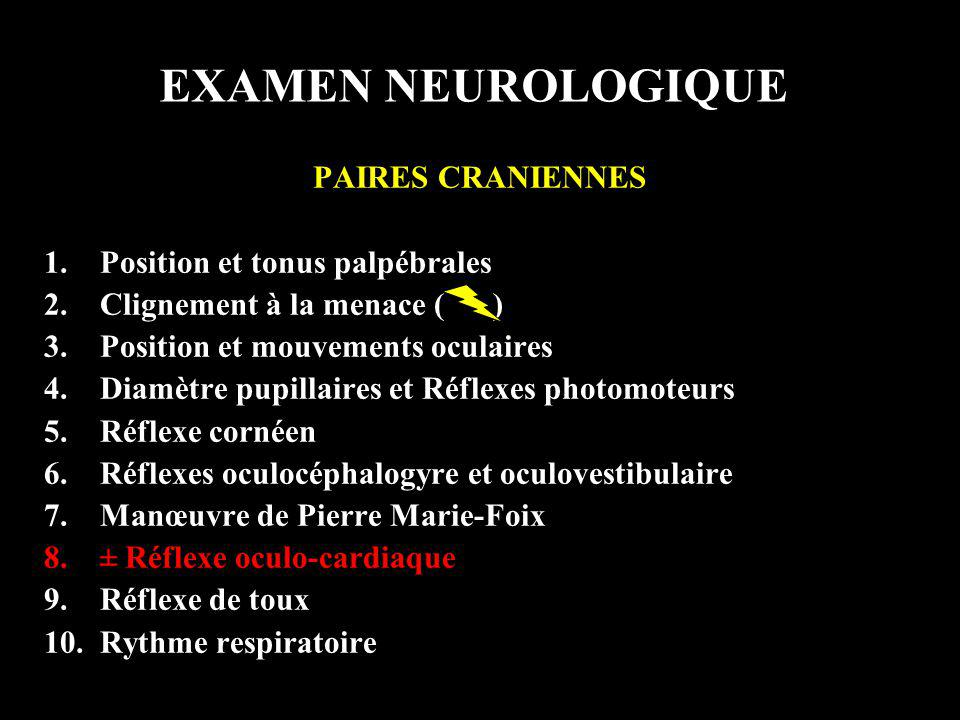 EXAMEN NEUROLOGIQUE PAIRES CRANIENNES Position et tonus palpébrales