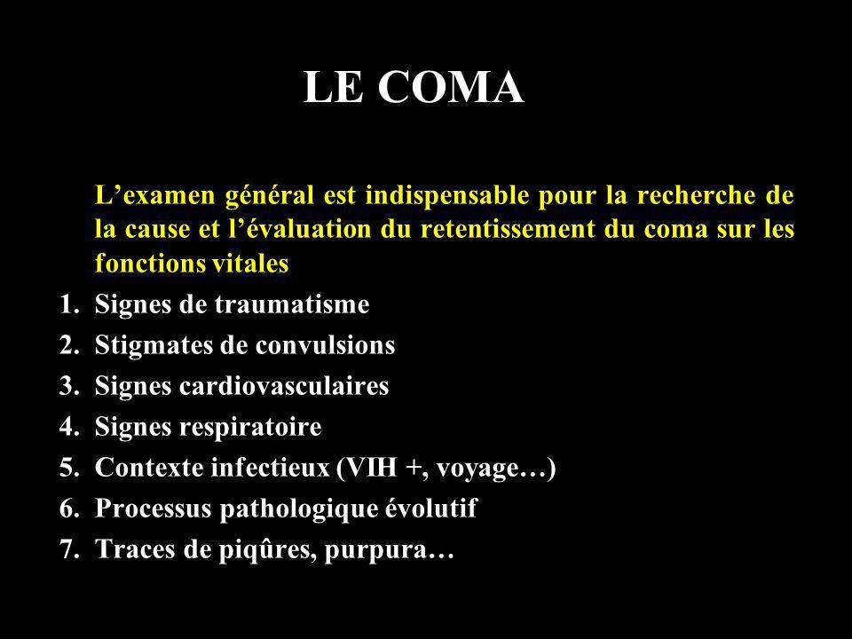 LE COMA L'examen général est indispensable pour la recherche de la cause et l'évaluation du retentissement du coma sur les fonctions vitales.