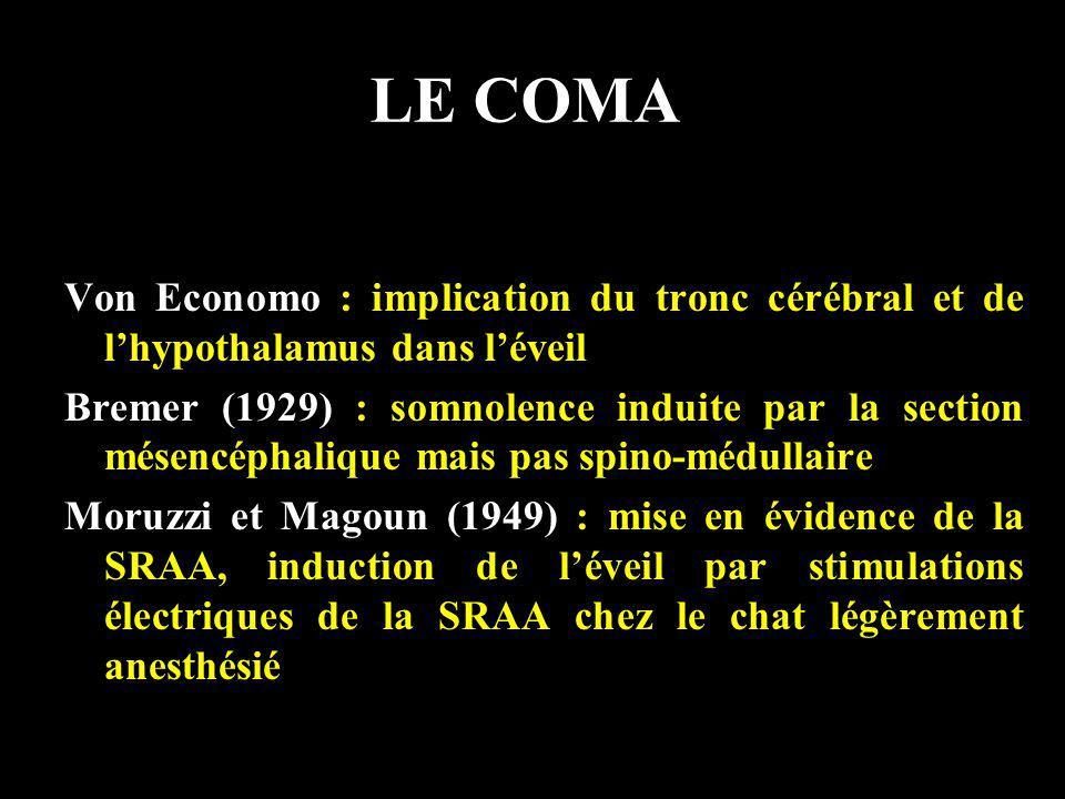 LE COMA Von Economo : implication du tronc cérébral et de l'hypothalamus dans l'éveil.
