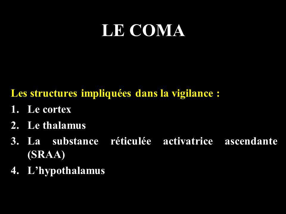 LE COMA Les structures impliquées dans la vigilance : Le cortex