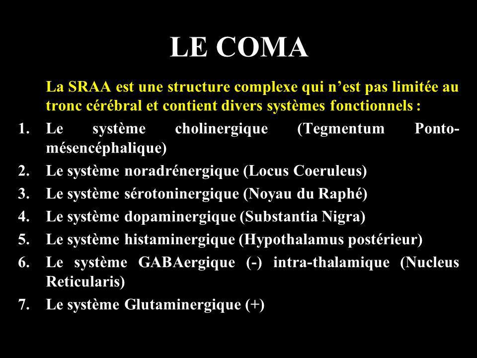 LE COMA La SRAA est une structure complexe qui n'est pas limitée au tronc cérébral et contient divers systèmes fonctionnels :