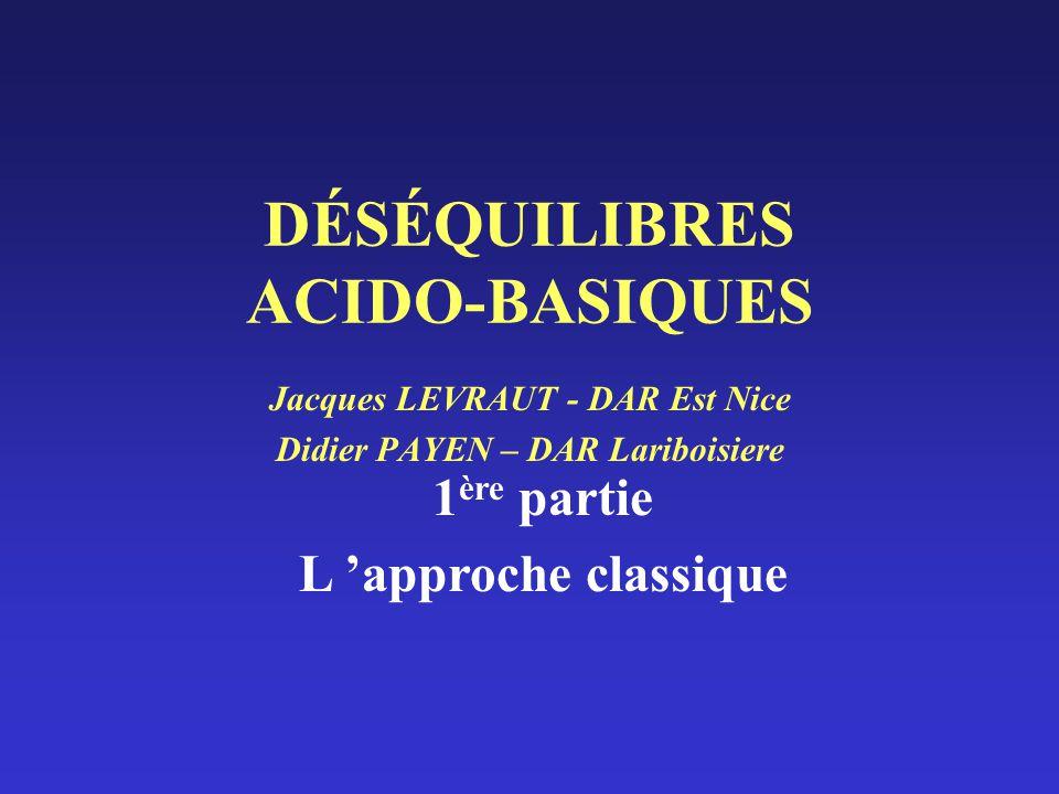 DÉSÉQUILIBRES ACIDO-BASIQUES