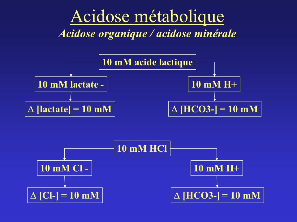 Acidose métabolique Acidose organique / acidose minérale