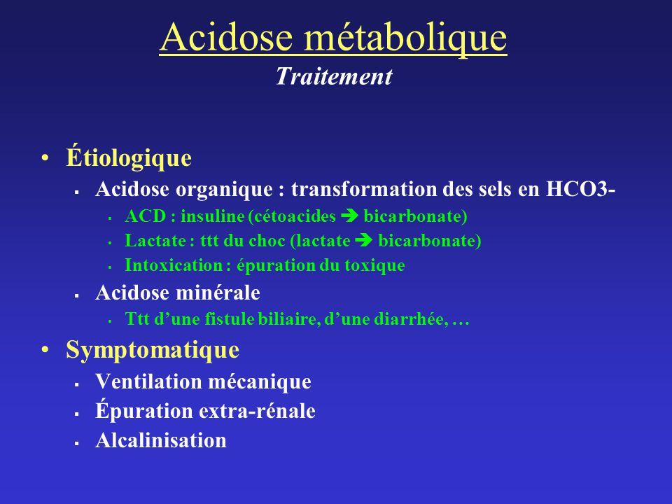 Acidose métabolique Traitement
