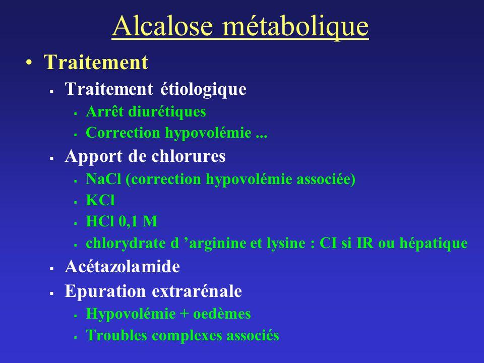 Alcalose métabolique Traitement Traitement étiologique