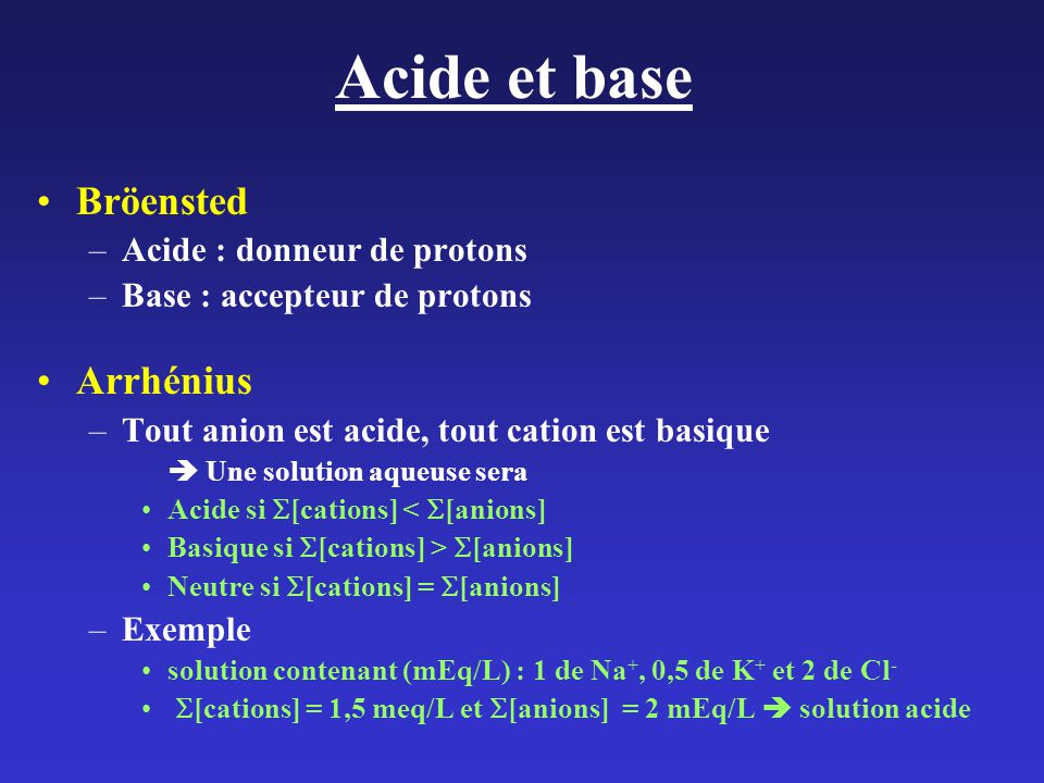 Acide et base Bröensted Arrhénius Acide : donneur de protons