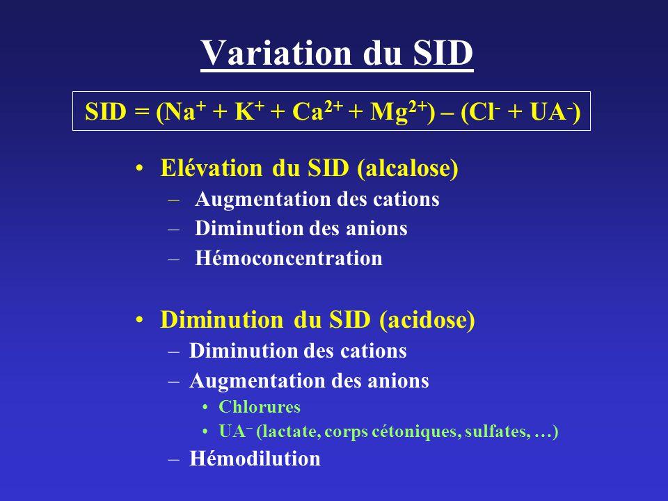 Variation du SID SID = (Na+ + K+ + Ca2+ + Mg2+) – (Cl- + UA-)