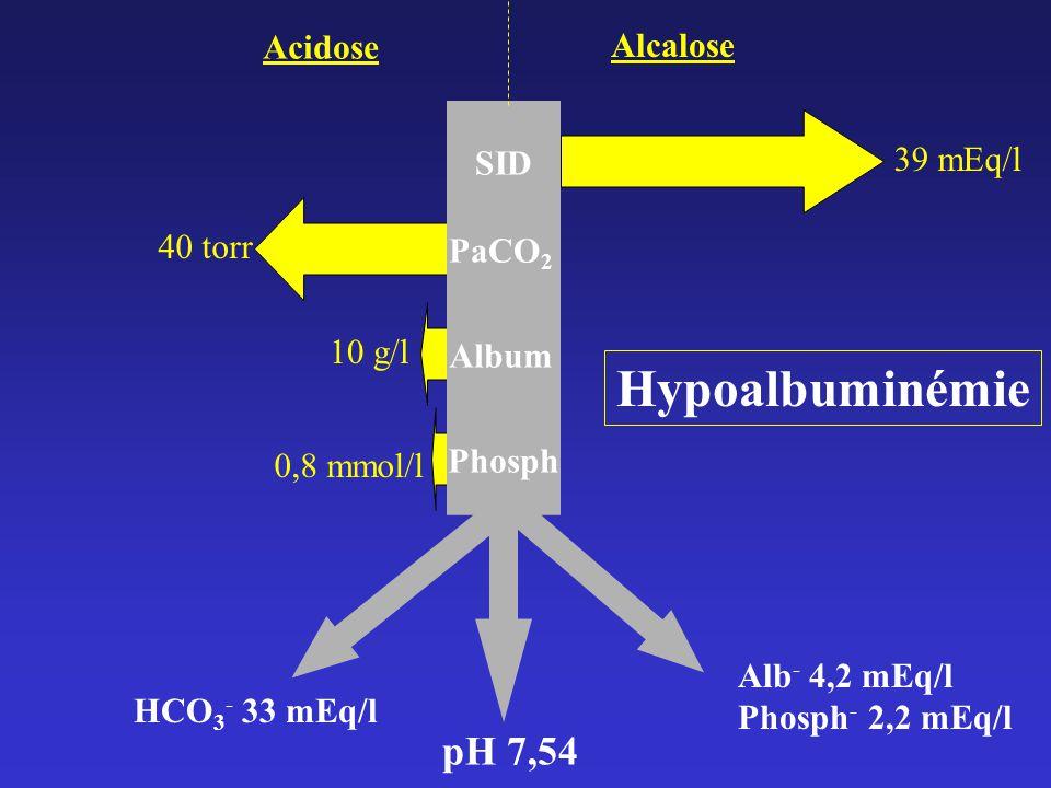 Hypoalbuminémie pH 7,54 Acidose Alcalose 39 mEq/l SID 40 torr PaCO2