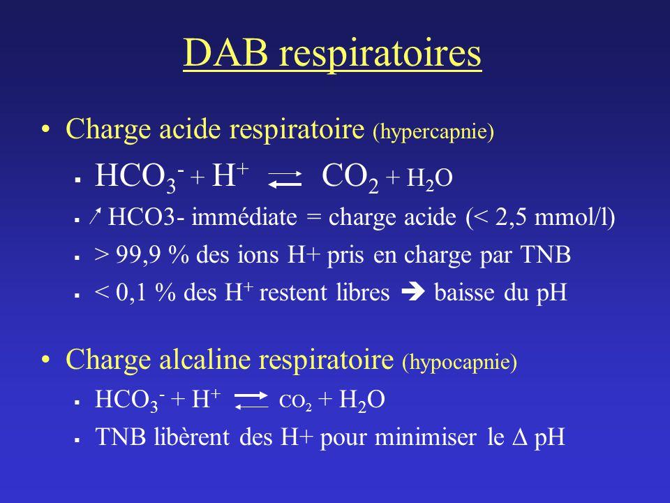 DAB respiratoires HCO3- + H+ CO2 + H2O