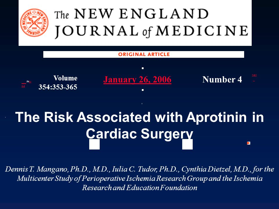 The Risk Associated with Aprotinin in Cardiac Surgery