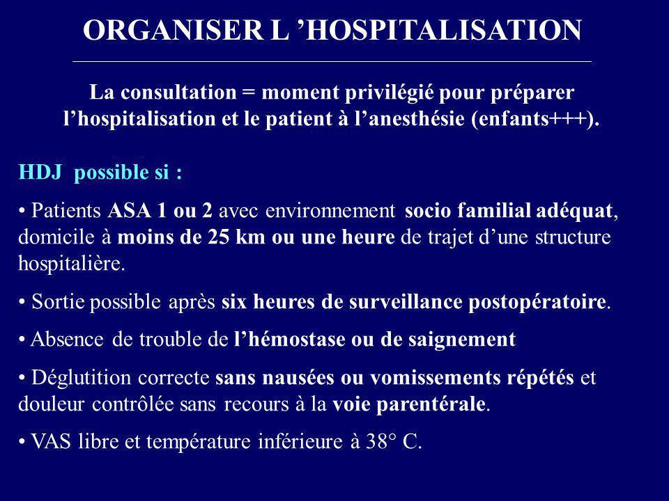 ORGANISER L 'HOSPITALISATION