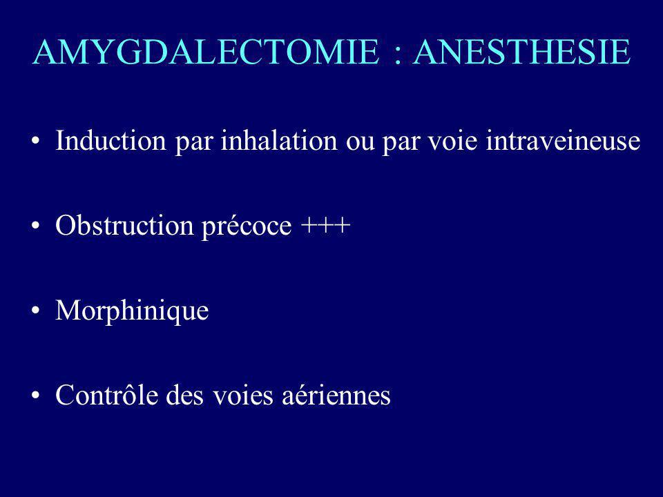 AMYGDALECTOMIE : ANESTHESIE