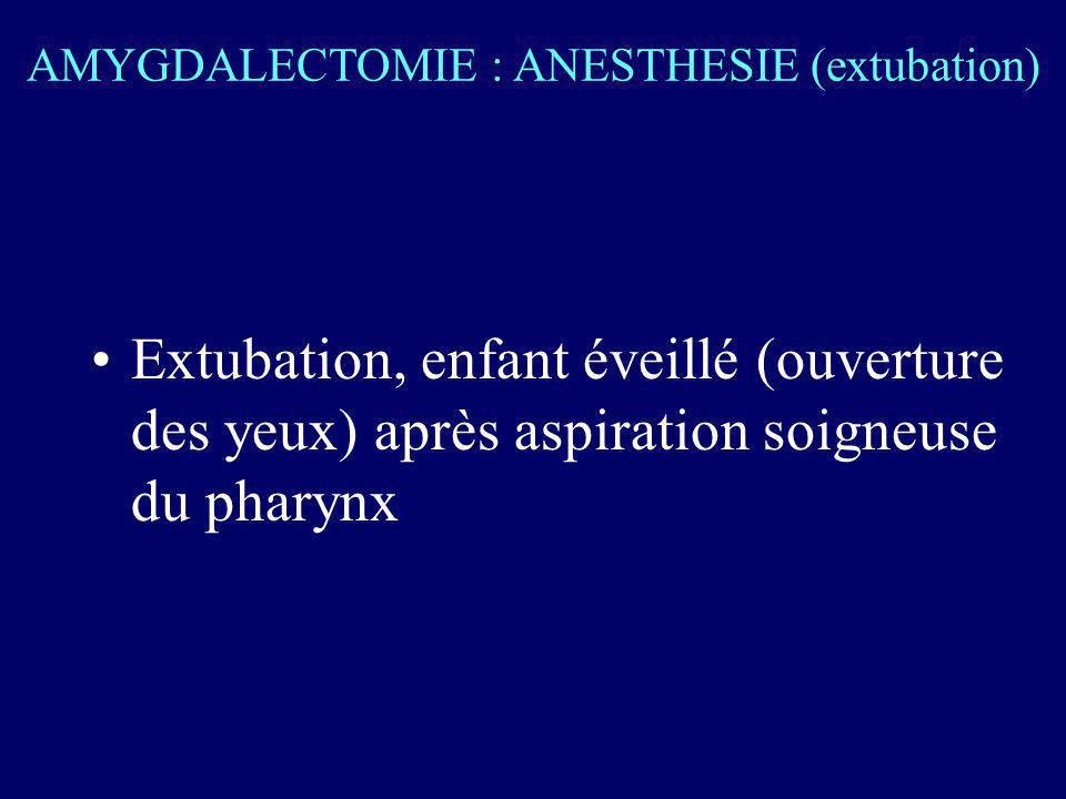AMYGDALECTOMIE : ANESTHESIE (extubation)