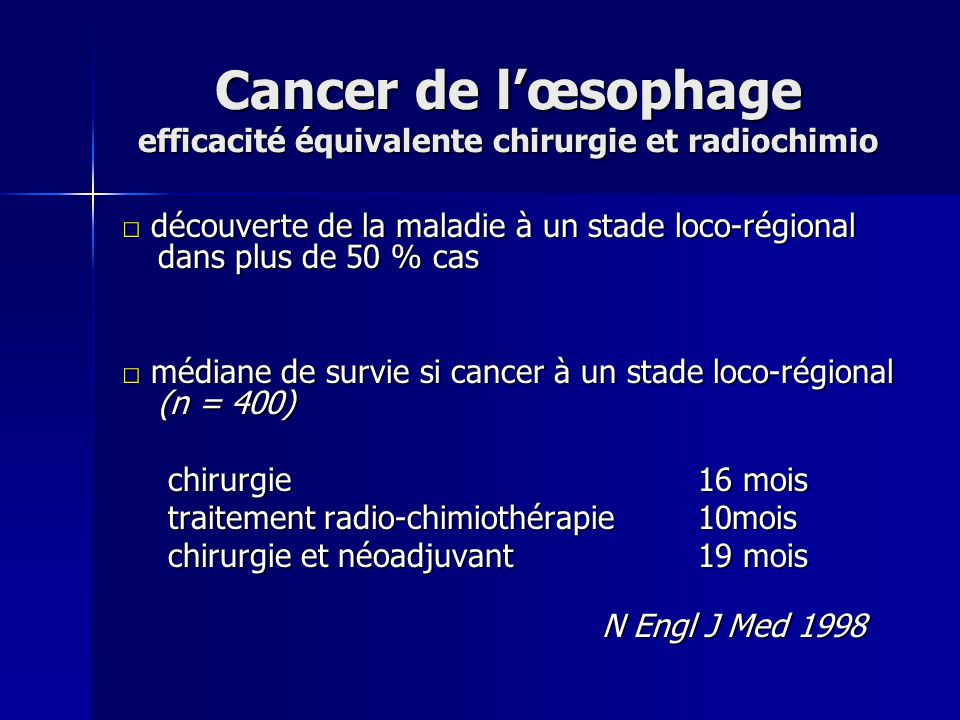 Cancer de l'œsophage efficacité équivalente chirurgie et radiochimio