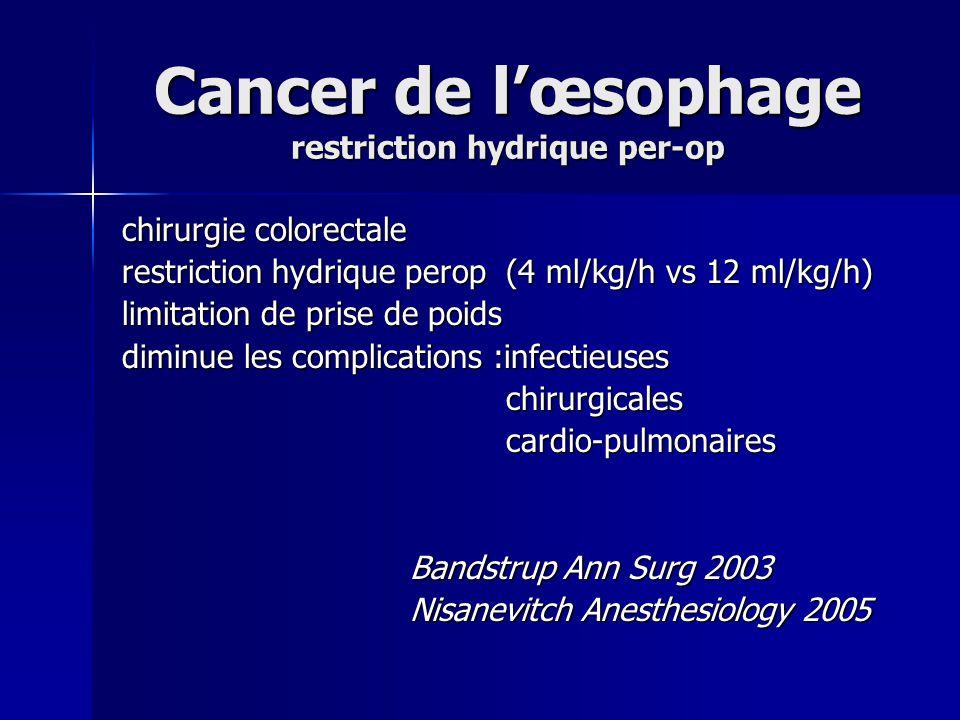 Cancer de l'œsophage restriction hydrique per-op